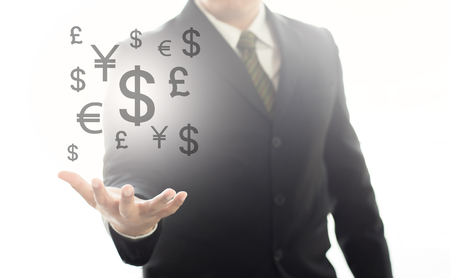 Businessman hands with money money icon floating in the air graphic , business concept