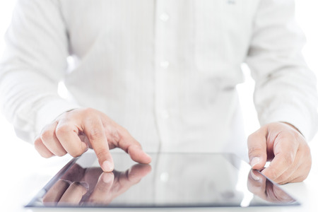 Businessman touching tablet for business concept