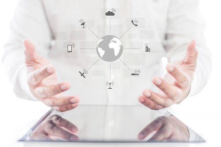 Businessman hands using tablet and mobile phone with social network diagram , communication network concept Stock Photo