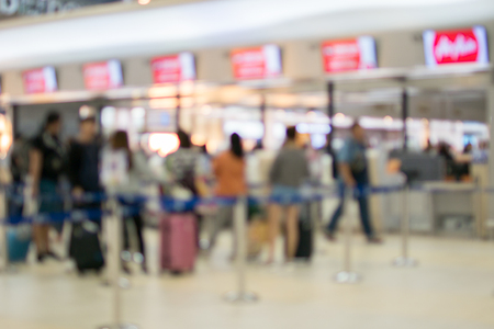 Blurred of counter check-in at airport
