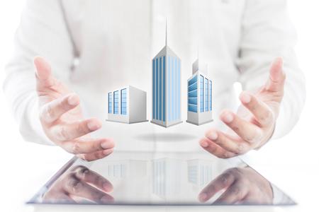 De handholding van de bedrijfsingenieur van de bouwbouw Stockfoto