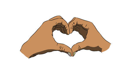 form: racemes of hands in form a heart Illustration