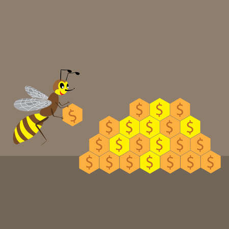 hoard: a cartoon illustration of a bee builds a honeycomb of money Illustration