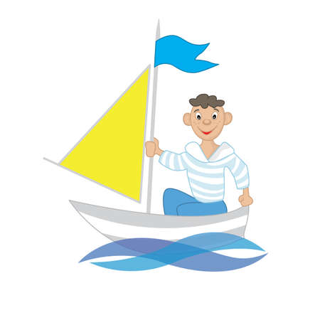 floats: a boy floats on a sailing boat in the sea Illustration