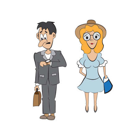 expects: the guy expects the girl who is late for a date