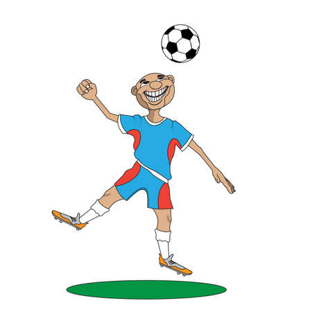hit man: the man in the uniform of a football player hit his head on the ball Illustration