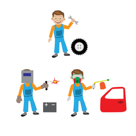 vulcanization: The repair of the car. The car service. Car mechanic, car painting, welding repairs of machinery and equipment. Diagnostics of the car. Illustration