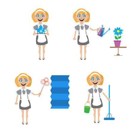 clean office: Multitasking housewife illustration. The woman housekeeper, cleaning, watering flowers, preparing tea, cleaning of dust Illustration