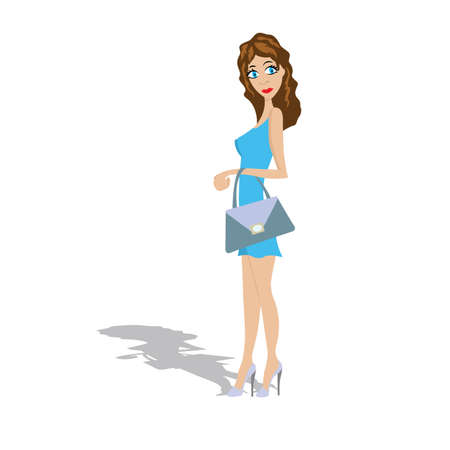short dress: slim young girl in a short dress, a purse Illustration
