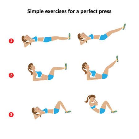 abdomen plano: chica muestra ejercicios no es difícil para un vientre plano Vectores