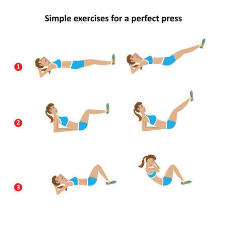 flat stomach: girl shows not difficult exercises for a flat stomach Illustration