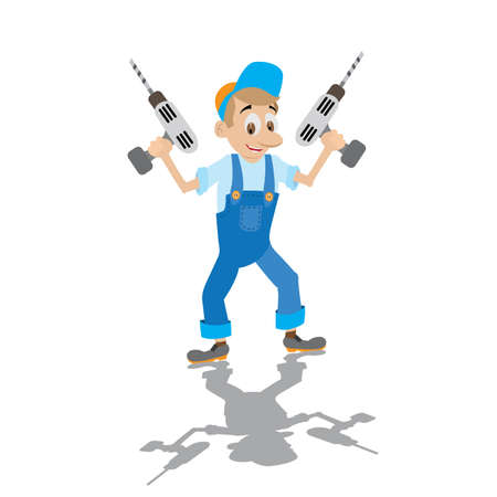 overalls: locksmith in working overalls holds the electric drill,