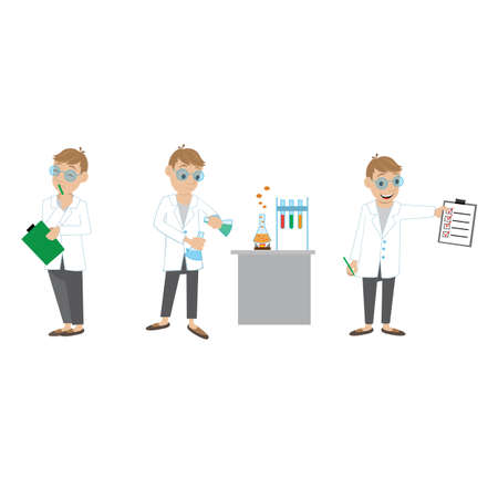 conduct: illustration. chemical experiments, the scientist ponders the problem, conduct experiments, receive the expected result. Illustration