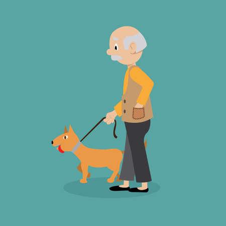 illustration. a man walks his dog on a leash.