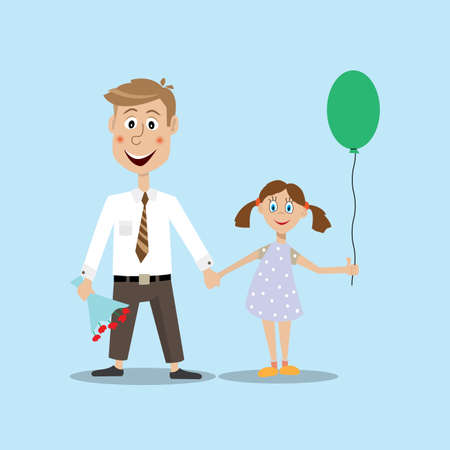 balloon bouquet: image of a father holding the hand of the daughter, in the other hand a bouquet of flowers. daughter holding a balloon