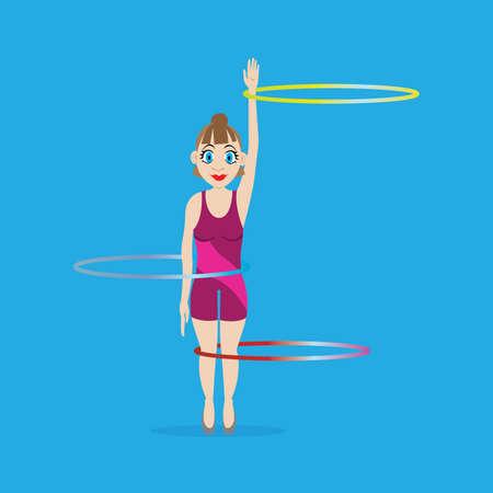 rotates: illustration. girl gymnast rotates hoops on hand, waist, legs