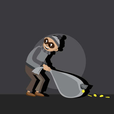villain: thief in the mask in the hood in a gray dress pulls night bag. a bag full of coins, coins through the hole poured on the earth, vector illustration, cartoon Illustration