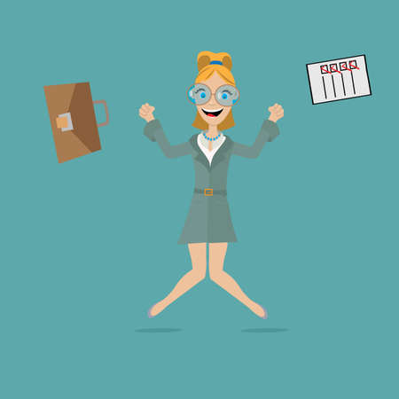 dress code: business woman dressed in a dress code jumps from happiness, scattering to the sides the leather bag and the contract after making a successful transaction. vector illustration, cartoon Illustration