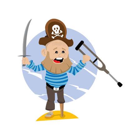 calavera caricatura: viejo pirata, piratas con barba en un pie, en una mano sostiene un cuchillo, en la otra una muleta. ilustración vectorial de dibujos animados