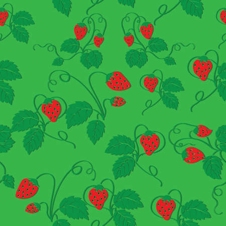 seamless pattern of ripe strawberries on a green background, vector illustration, cartoon