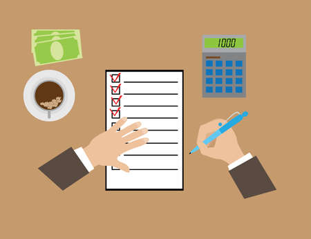 filling folder: hands, filling out questionnaires, calculator and banknotes on the table, vector illustration, cartoon