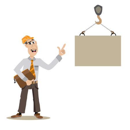 building site: managing on a building site, a construction crane lifts a load, vector illustration, cartoon Illustration