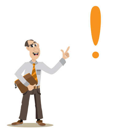 institute: someone points out the exclamation point in describing the problem and its solution. vector illustration of cartoon Illustration
