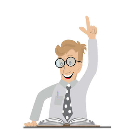 account executive: man reading a book, found in it the solution of the question, happily raised up hand, vector illustration cartoon Illustration