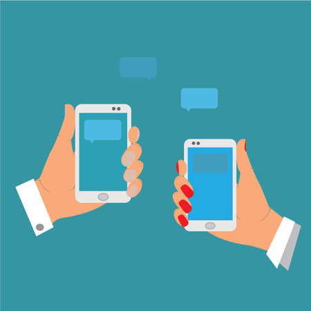 appoint: the hands of a boy and a girl holding a cell phone, send each other SMS
