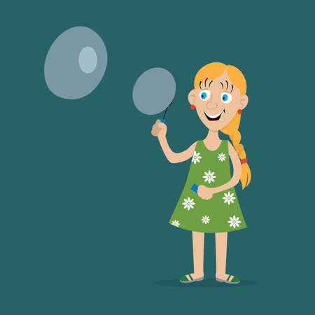 girl inflates soap bubbles, one large the other small. vector illustration, cartoon