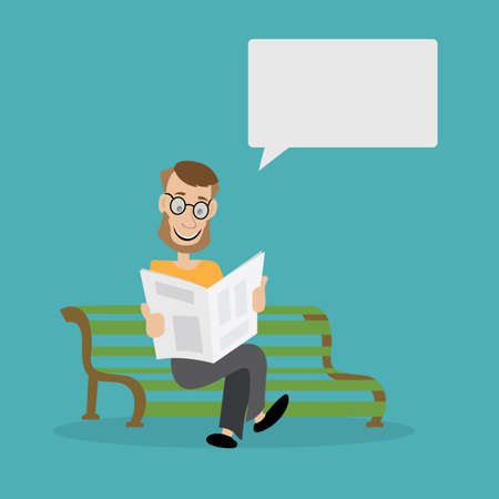 a man sits on a Park bench and reading a newspaper. vector illustration of cartoon