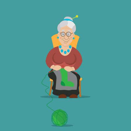 la anciana estaba tejiendo calcetines a tejer, se sentó en una silla, ilustración vectorial, dibujo animado