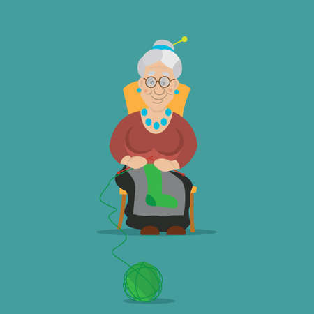 knit: the old woman was knitting socks to knit, sat on a chair, vector illustration, cartoon