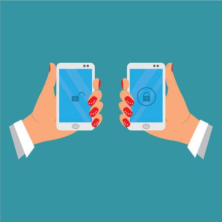 female hand holding mobile phone, badge blocked and unblocking. illustration vector cartoon