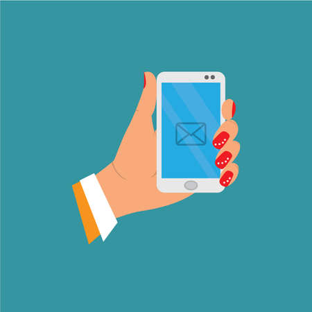 came: icon, female hand holds the phone screen flashing envelope the message came in. vector illustration of cartoon