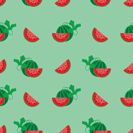 cut off: a ripe watermelon and cut off a slice seamless pattern, vector illustration cartoon