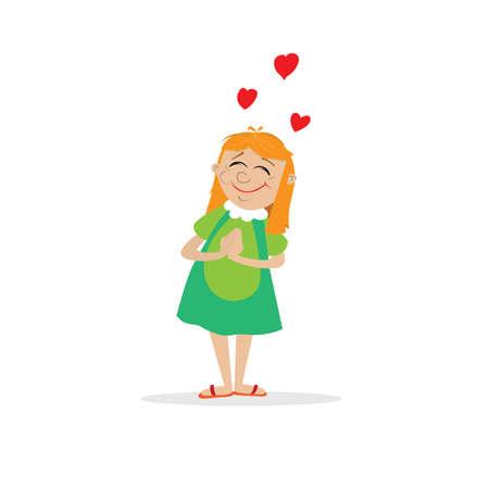 a teenage girl dreams of love. heart. vector illustration of cartoon Illustration