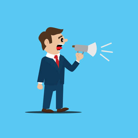 filing: the person filing the statement. jobs. Megaphone. vector illustration