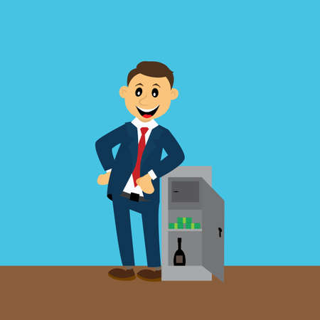 safe with money: businessman standing near the safe. money. alcohol. vector illustration Illustration