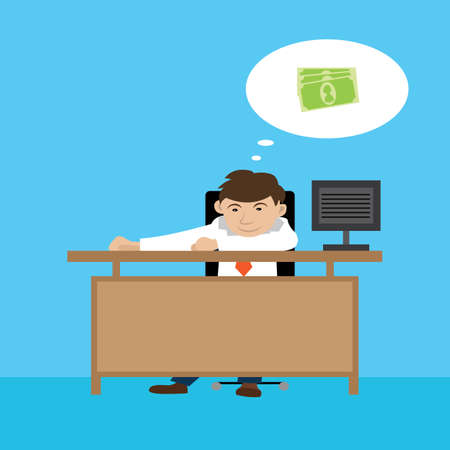 earn money: a businessman wants to earn money. vector illustration