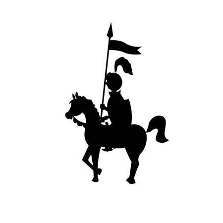 the black knight on a horse on a white background. vector illustration of cartoon Vektoros illusztráció