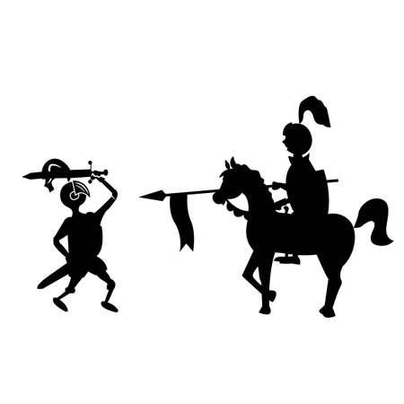 A horseman with a spear against a knight with a sword. cartoon vector illustration