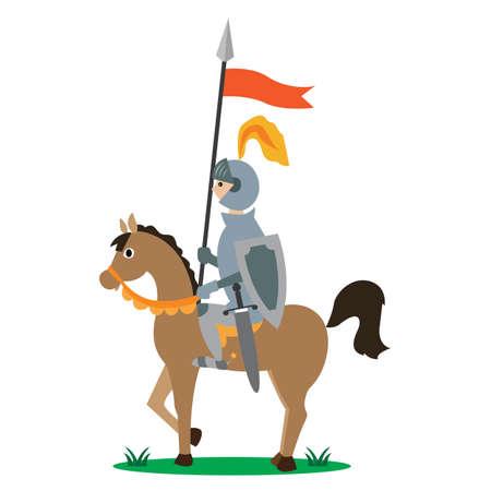 chevalier à cheval avec une lance avec une bannière. illustration vectorielle de bande dessinée