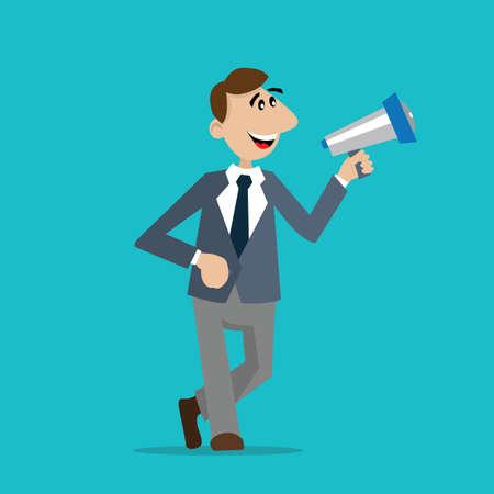 businessman with a megaphone. ads. vector illustration of cartoon Illustration