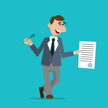 signed: the businessman signed the contract. cartoon vector illustration