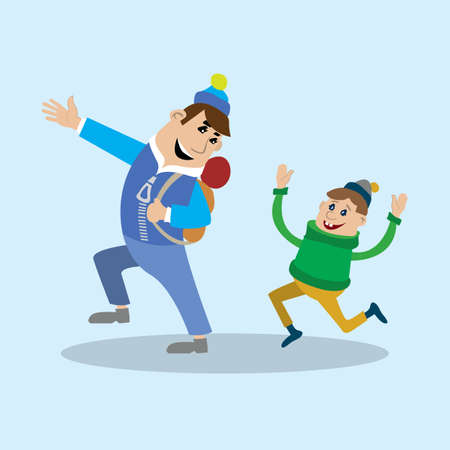 father and son walking. vector illustration of cartoon Illustration