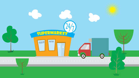drove: the car drove to the supermarket. vector illustration of cartoon Illustration