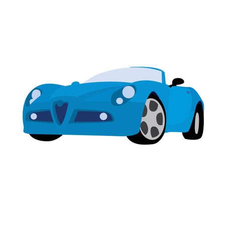 sport car blue. vector illustration of cartoon Illustration