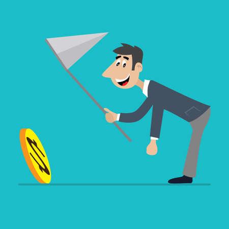businessman with a net running after a coin. cartoon vector illustration Illustration