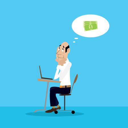 residual income: businessman dreams of money. vector illustration of cartoon